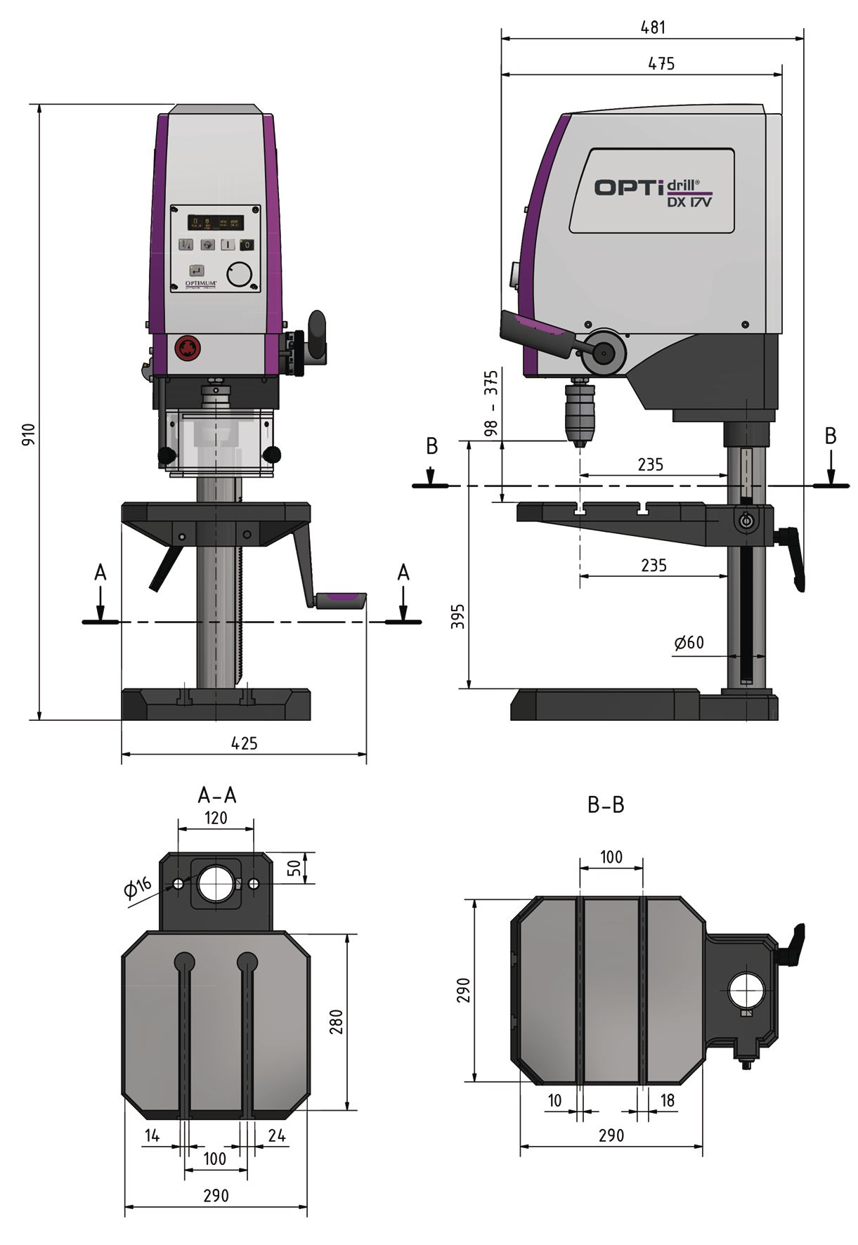 Optimum Precision Industrial Bench Drilling Tapping